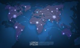 Nätverk för världsteknologiingrepp, vektorillustration Stock Illustrationer