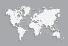Nätverk för vektorvärldskartaanslutning Arkivbilder