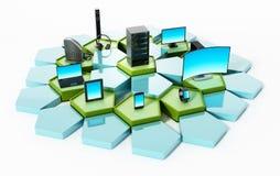 Nätverk med pentagontegelplattor som förbinder elektroniska apparater illustration 3d vektor illustrationer