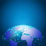 Nätverk, vektor & illustration för världsteknologiingrepp Arkivbilder