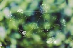 Nätverket av ekologi-släkta symboler anknyter vid streckade linjer arkivbild