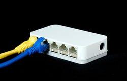 Nätverket kablar RJ45 förbindelse till en strömbrytare Arkivfoton