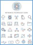 Nätverks- & teknologisymbolsuppsättning Fotografering för Bildbyråer