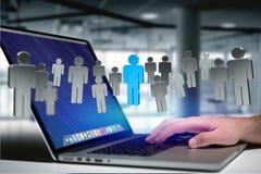 Nätverksanslutning med ett rött folk i mitt - renderin 3D Royaltyfria Foton