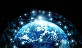 Nätverksanslutning och globala datautbyten på blå planeteart royaltyfri illustrationer