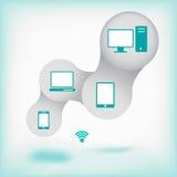 Nätverksbegrepp med symboler och bakgrund Arkivfoton