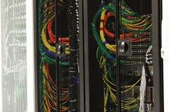 Nätverkskablar av en server Arkivfoto