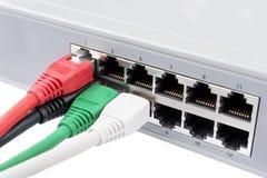 Nätverkskablar pluggade in en strömbrytare Arkivbild