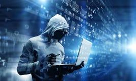Nätverkssäkerhet och avskildhetsbrott Blandat massmedia royaltyfri fotografi