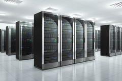 Nätverksserveror i datacenter Arkivbild