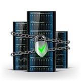 Nätverksserveror med ett lås med kedjan Säkerhetsdatabas materiel Royaltyfria Bilder
