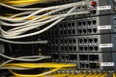 Nätverksströmbrytare och Ethernetkablar Arkivbilder