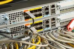 Nätverksströmbrytare och Ethernetkablar Arkivfoton