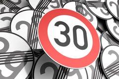Nå den 30th födelsedagen som illustreras med trafiktecken Royaltyfri Fotografi