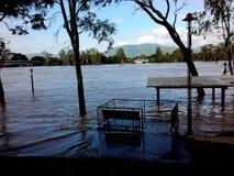 Nådde en höjdpunkt sikter 2011 för Rockhampton Fitzroy flod floder royaltyfria foton