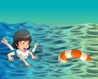Någon behöver hjälp i havet stock illustrationer