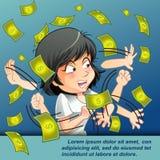 Någon försöker att fånga pengar stock illustrationer
