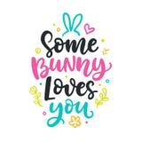 Någon kanin älskar dig Skriftlig bokstäver för säsongsbetonad färgrik hand Royaltyfria Bilder