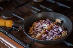 Någon lök och bacon för att laga mat frukosten Royaltyfria Foton