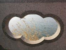 Något gräs i vatten från ett hål på bron arkivfoto