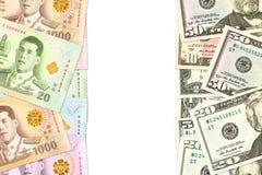 Något thai indikera för baht- och us-dollar sedlar handlar förbindelse med copyspace fotografering för bildbyråer