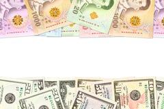Något thai indikera för baht- och us-dollar sedlar handlar förbindelse med copyspace royaltyfria foton