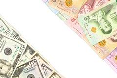 Något thai indikera för baht- och us-dollar sedlar handlar förbindelse med copyspace arkivfoto