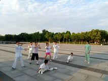 Några barn lär kinesiska kampsporter royaltyfria bilder