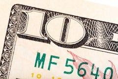 Några beståndsdelar på ny U S 10 dollar dill Royaltyfri Fotografi