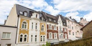 Några byggnader i siegenen Tyskland Arkivfoton
