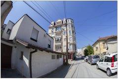 Några byggnader i Skopje, Makedonien royaltyfri foto