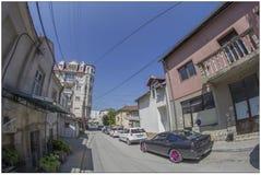 Några byggnader i Skopje, Makedonien arkivfoto