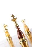 Chessmen på schackbrädet Arkivfoton