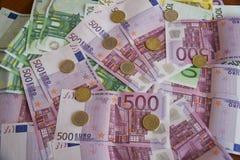 Några eurosedlar Arkivbilder