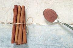 Några kanelbruna pinnar som binds och pudras royaltyfria bilder