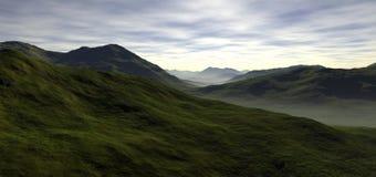 Några långa rullande gröna dalar Arkivbilder