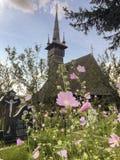 Några rosa blommor i en kristen kyrkogård fotografering för bildbyråer