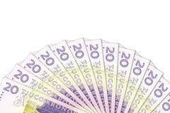 N?gra 20 sedlar f?r svensk krona med copyspace arkivbilder