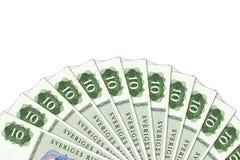 N?gra 10 sedlar f?r svensk krona med copyspace royaltyfri bild
