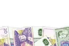 N?gra sedlar f?r svensk krona med copyspace royaltyfri fotografi