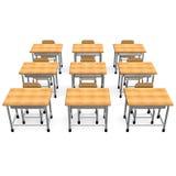 Några skolar skrivbordet Front View Arkivbild