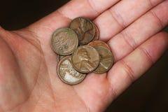 Några stycken av en Lincoln Cents arkivfoton