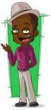 Nègre frais de bande dessinée dans la chemise violette illustration de vecteur