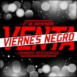 Nègre Venta de Viernes - les Espagnols de vente de Black Friday textotent Photo libre de droits