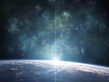 Nébuleuse bleue avec la planète illustration stock