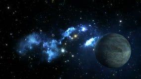 Nébuleuse bleue avec la planète et la lune banque de vidéos