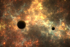 Nébuleuse d'espace lointain avec des planètes Photographie stock libre de droits