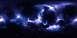 Nébuleuse et étoiles dans l'espace extra-atmosphérique panorama d'environnement de 360 degrés Image libre de droits