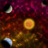 Nébuleuse et l'étoile avec des planètes dans l'avant Photos libres de droits