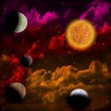 Nébuleuse et l'étoile avec des planètes dans l'avant Image stock
